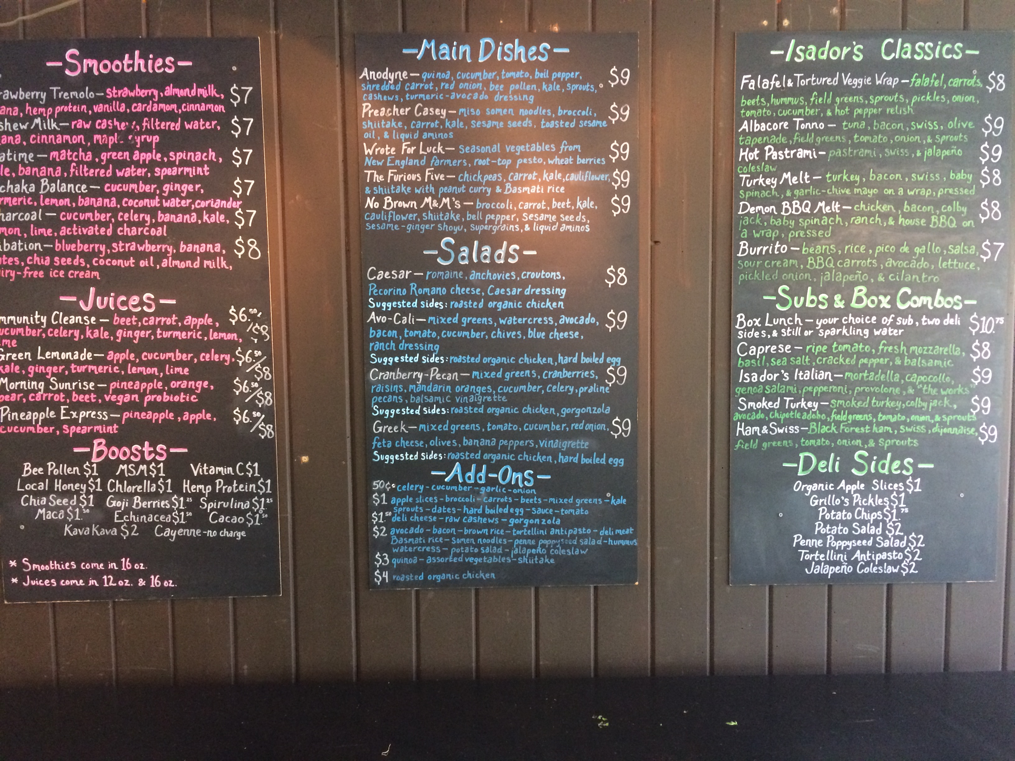 New Menu at Isador's Organics!